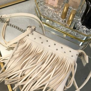 White Fringe Leather Justice Cross-body Purse
